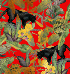 Fototapeta Tropical leaves, bananas, panther and orchid. Vintage pattern. Wallpapers with tropical flowers and leaves