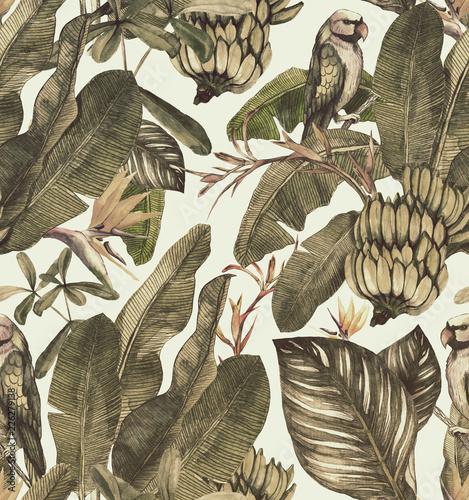 Plissee mit Motiv - Seamless watercolor pattern with hibiscus, palm leaves, branch of strelitzia, calathea.Tropic  vintage background (von Арина Трапезникова)