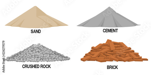 Fotografia, Obraz  Set of construction material ( sand ,cement,crushed rock, brick) on transparent