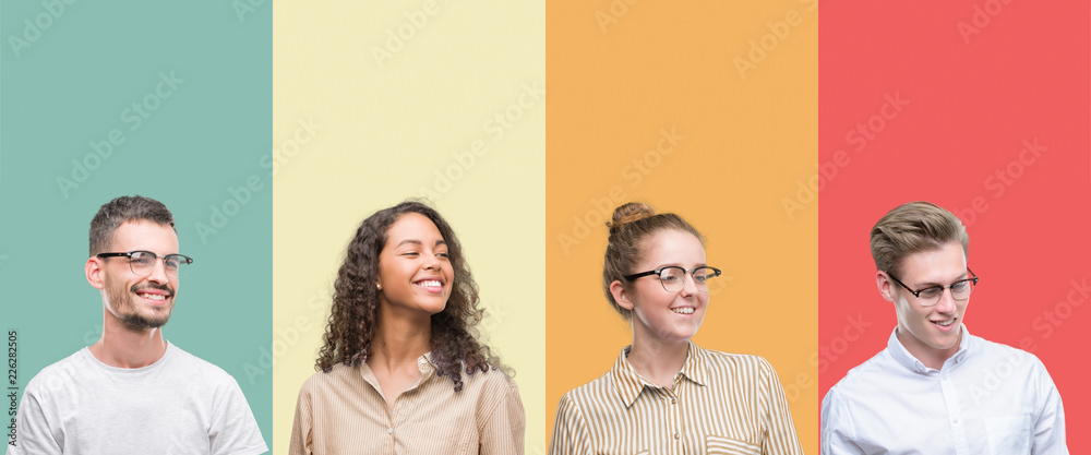 Valokuva  Collage of a group of people isolated over colorful background looking away to side with smile on face, natural expression