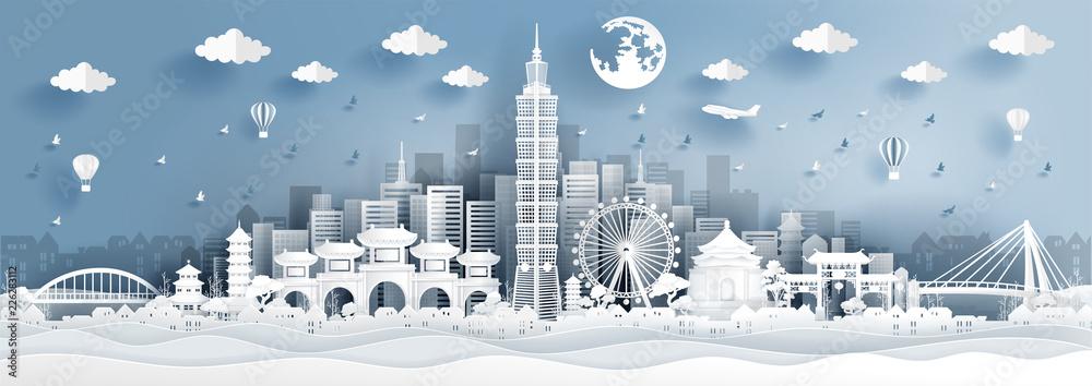 Fototapeta Panorama postcard of world famous landmarks of Taipei in paper cut style vector illustration