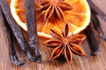Star Anise, Fragrant Vanilla And Dried Orange, Seasoning For Baking Concept