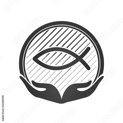 Fotomural Hand and Jesus fish, christian symbol or logo