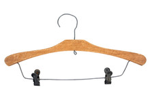 Old Wood Cloth Hanger With Clips Isolated On White Background
