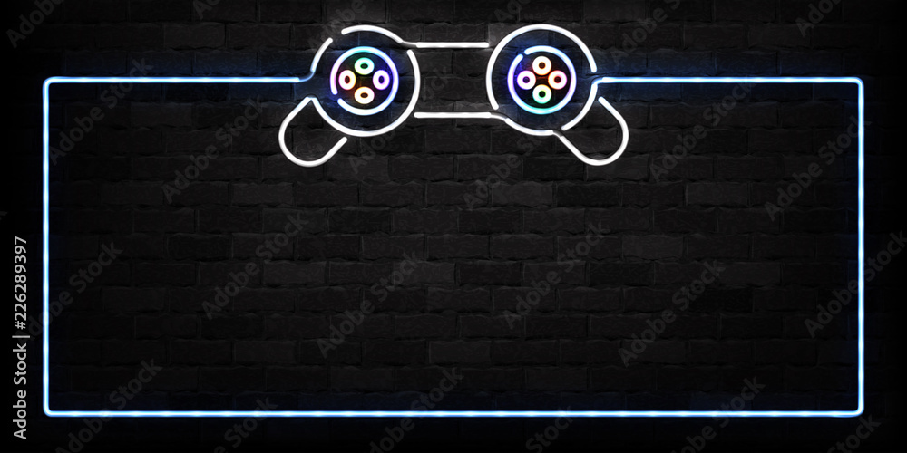 Fototapeta Vector realistic isolated neon sign of Controller frame logo for decoration on the wall background. Concept of game and computer leisure.