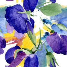 Watercolor Purple Sweet Pea Flower. Floral Botanical Flower. Seamless Background Pattern. Fabric Wallpaper Print Texture. Aquarelle Wildflower For Background, Texture, Wrapper Pattern, Frame.