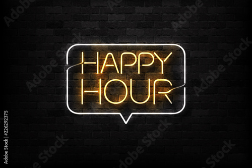 Vector realistic isolated neon sign of Happy Hour logo for decoration and covering on the wall background Fototapeta