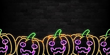 Vector Realistic Isolated Neon Sign Of Pumpkin Seamless Pattern For Decoration And Covering On The Wall Background. Concept Of Happy Halloween.