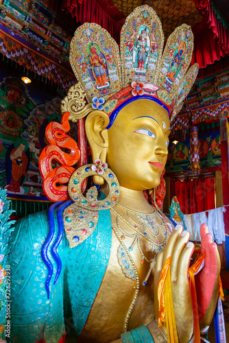 Sculpture of Maitreya buddha at Thiksey Monastery, Leh, Ladakh, Jammu and Kashmir, India - Vertical view
