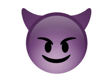 Isolated Purple Demon Devil Smiling Face Icon With Horns