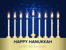 Jewish Holiday Hanukkah Background, Realistic Menorah (traditional Candelabra), Burning Candles, Bokeh Effect. Vector Illustration.