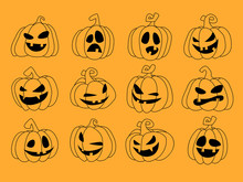 Set Of Silhouette Spooky Horror Images Of Pumpkins. Scary Jack-o-lantern Facial Expressions Illustration.