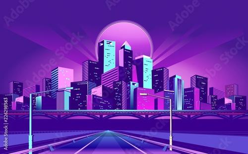 Spoed Foto op Canvas Violet Night Neon City