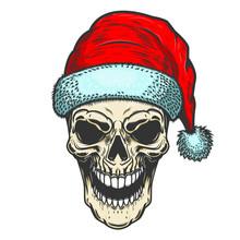 Santa Claus Skull On White Bac...