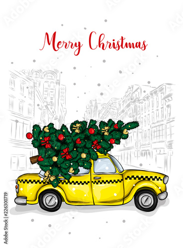 Staande foto Cartoon cars A beautiful Christmas tree in the vector. Illustration for a card or poster. New Year's and Christmas. Taxi, car.