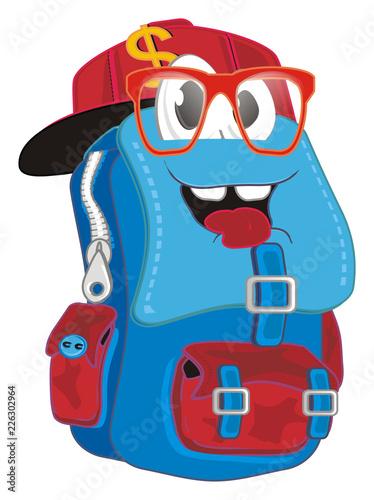 Printed kitchen splashbacks Indians backpack, briefcase, satchel, school bag, back to school, school, face, glasses, cap