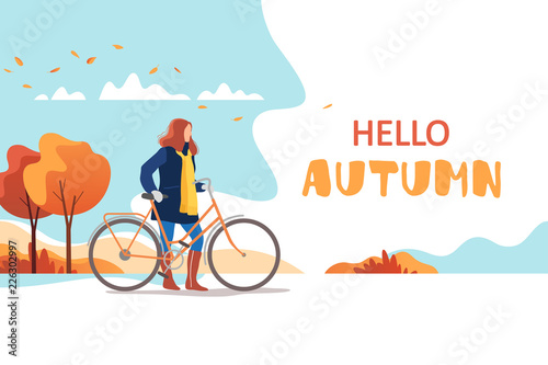 Photo Stands Light blue Hello autumn. Young female walking with bicycle in a park. Healthy lifestyle and recreation leisure activity. Vector illustration.