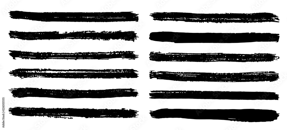 Fototapeta Black and white stripes set isolated on white background vector