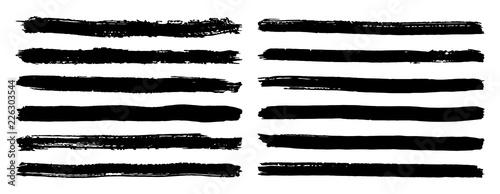 Canvastavla Black and white stripes set isolated on white background vector