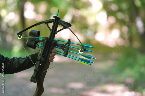 Photo Hand holding crossbow, in the nature