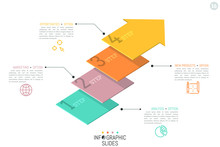 Creative Infographic Design Template. Four Numbered Elements In Shape Of Flat Arrows Placed One Above Other. 4 Steps To Business Project Completion Concept. Vector Illustration For Presentation.