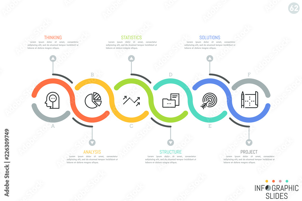 Fototapeta Six successively connected lettered round elements, icons and text boxes. Horizontal diagram. Simple infographic design layout. Vector illustration for presentation, website, corporate report, banner.