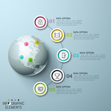 5 Multicolored Circular Elements, Icons Inside And Numbered Text Boxes Placed In Semicircle Way Around Globe With Map Pins Of Corresponding Color. Infographic Design Layout. Vector Illustration.