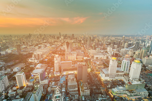 Spoed Foto op Canvas Stad gebouw Bangkok city central business downtown with sunset skyline, cityscape background, Thailand