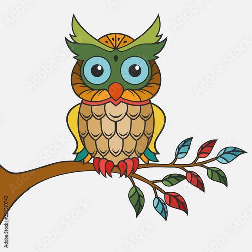 Foto op Plexiglas Uilen cartoon Colorful owl design