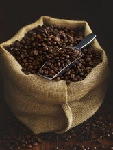 Close Up Of Coffee Beans In Sack
