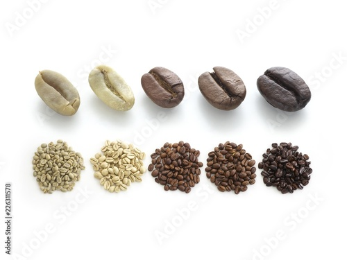 Raw, light, medium and dark roast coffee beans