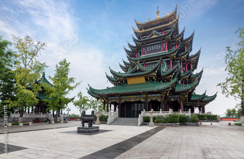 Wall Murals Place of worship Ancient architecture temple pagoda in the park, Chongqing, China