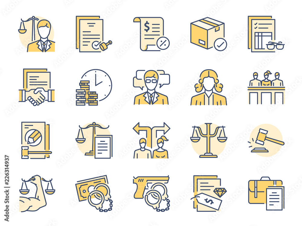 Fototapeta Legal services filled color line icon set. Included icons as law, lawyer, judge, court, advocacy and more.