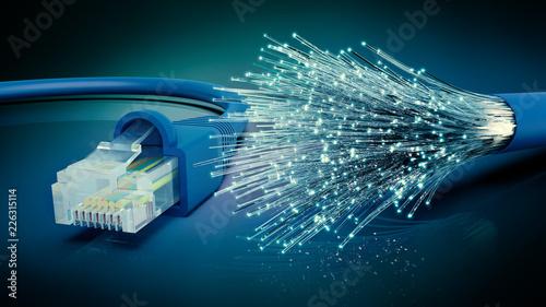 Fotografía  Netzwerkkabel und optisches Glasfaser Kabel, 3D Rendering