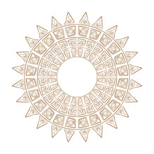 Ethnic Circle Ornament.Magic Pattern The Sun.