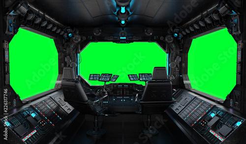 Fotografía Spaceship grunge interior window isolated