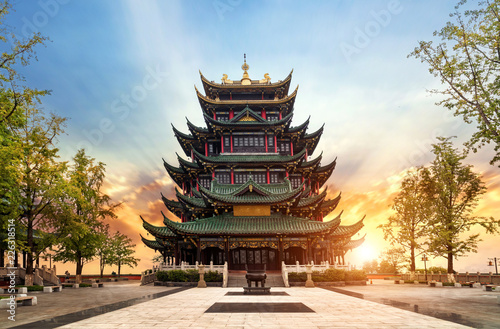 Ancient architecture temple pagoda in the park, Chongqing, China Canvas Print