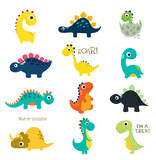 Fototapeta Dinusie - Set of little cute dinos