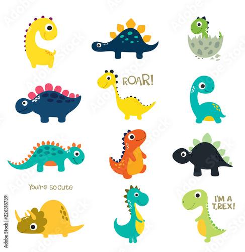 Fototapeta premium Zestaw małych uroczych dinozaurów