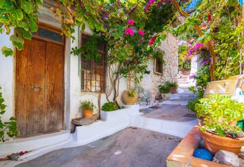 Narrow street in the old village of Kritsa, Crete, Greece