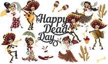 Day Of The Dead People Skeletons Party Poster