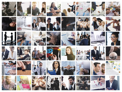 Obraz Business collage with scene of business person at work - fototapety do salonu