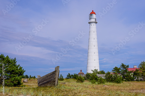Sightseeing of Hiiumaa island. Tahkuna lighthouse is a popular landmark and scenic location on the Baltic sea coast, Hiiumaa island, Estonia