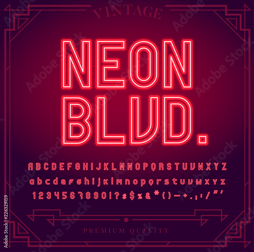 Fotografie, Obraz Bright Neon Alphabet Letters, Numbers and Symbols Sign in Vector