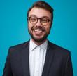 Excited happy businessman in eyeglasses