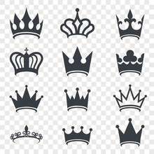 Black Crown Silhouette Isolated On Transparent Background. Royal Crown Icons Collection. High Status Item. Element For Your Design. Vector Illustration.
