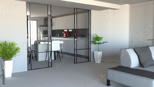 Porta scorrevole, divisorio ambiente soggiorno e cucina ...