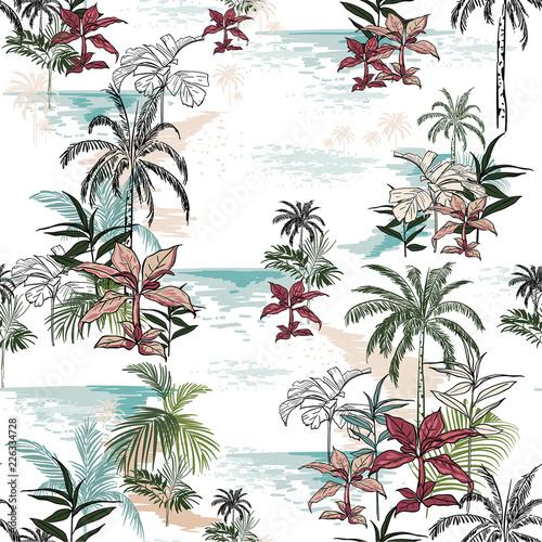 piekny-bezszwowy-wyspa-wzor-na-bialym-tle-krajobraz-z-palmami-plaza