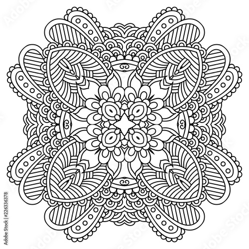 Photo  Vector template zentangle mandala for decorating greeting cards, coloring books, art therapy, anti stress, print for t-shirt and textile
