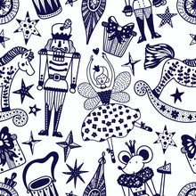 Christmas Line Vector Seamless Nutcracker Pattern.  Seamless Pattern Can Be Used For Wallpaper, Pattern Fills, Web Page Background, Surface Textures.